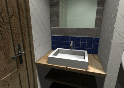 Csipkecsempés mosdó 3D látványterve
