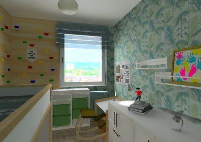 Magánlakás-gyerekszoba berendezés 3D tervek